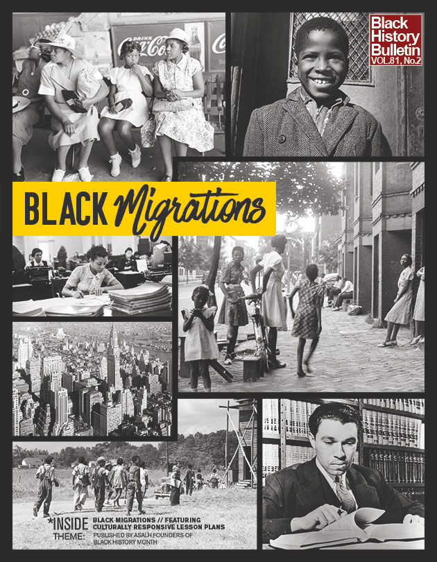 Black migrations poster depicting scenes from African American life