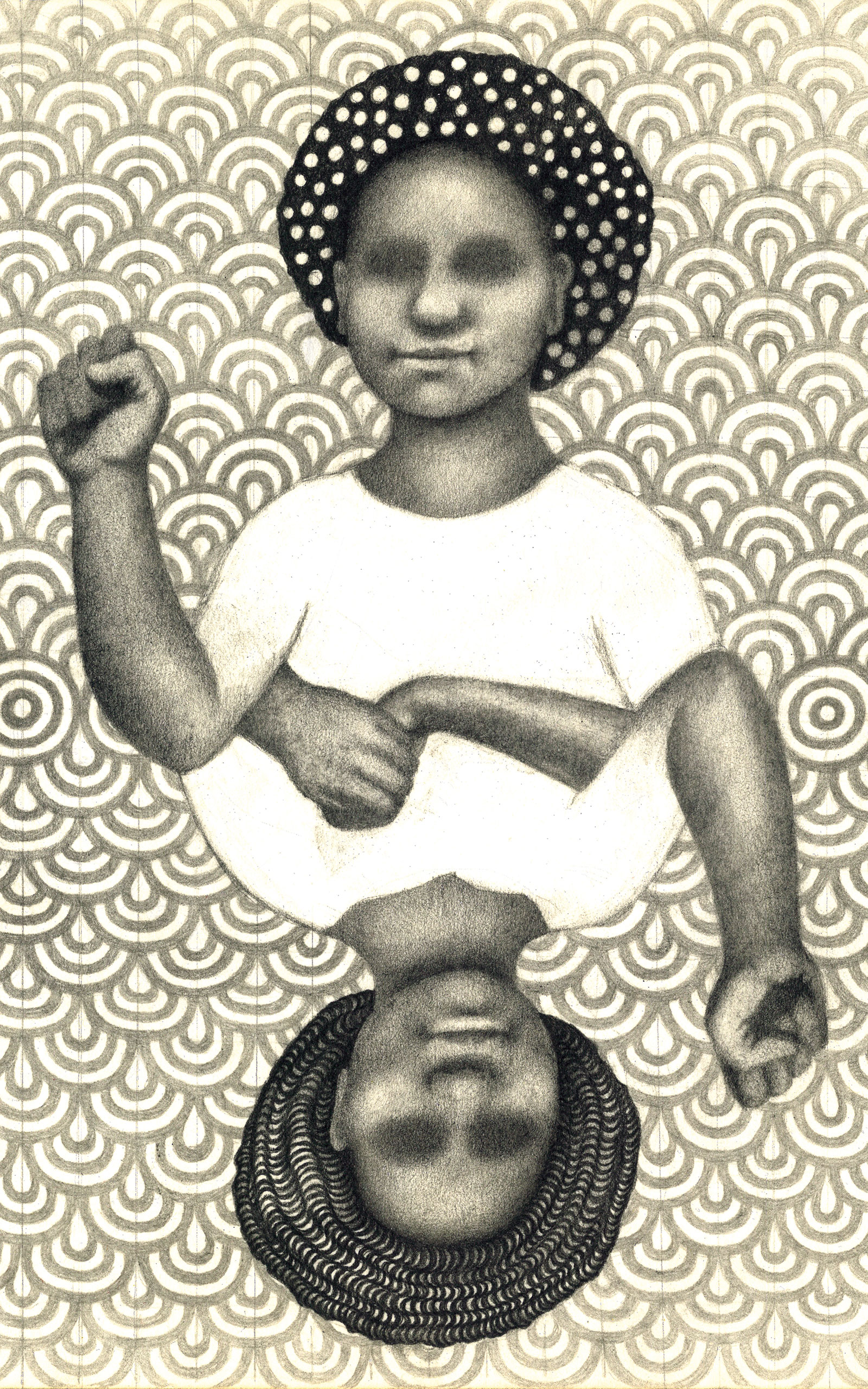 A black and white drawing centered on two identical Black figures, each shown waist up and with raised fists. The two figures, one upside down and the other right side up, are joined at the waist with their hands intertwining. The central image is on a background pattern of repeated gray rings and spirals