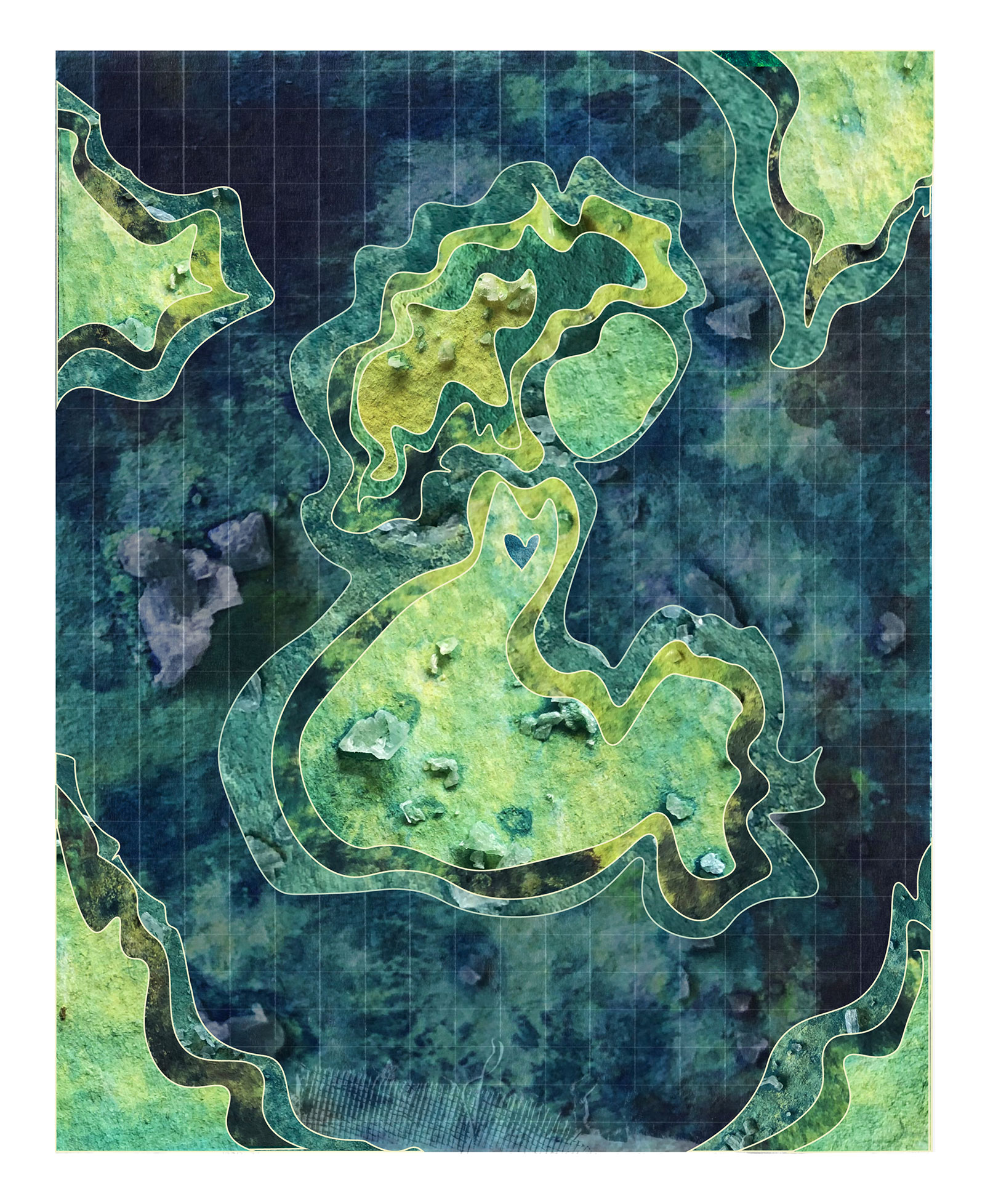 An abstract image with a central amorphous green shape, with textured and raised areas, surrounded by a larger blue area and superimposed on a grid