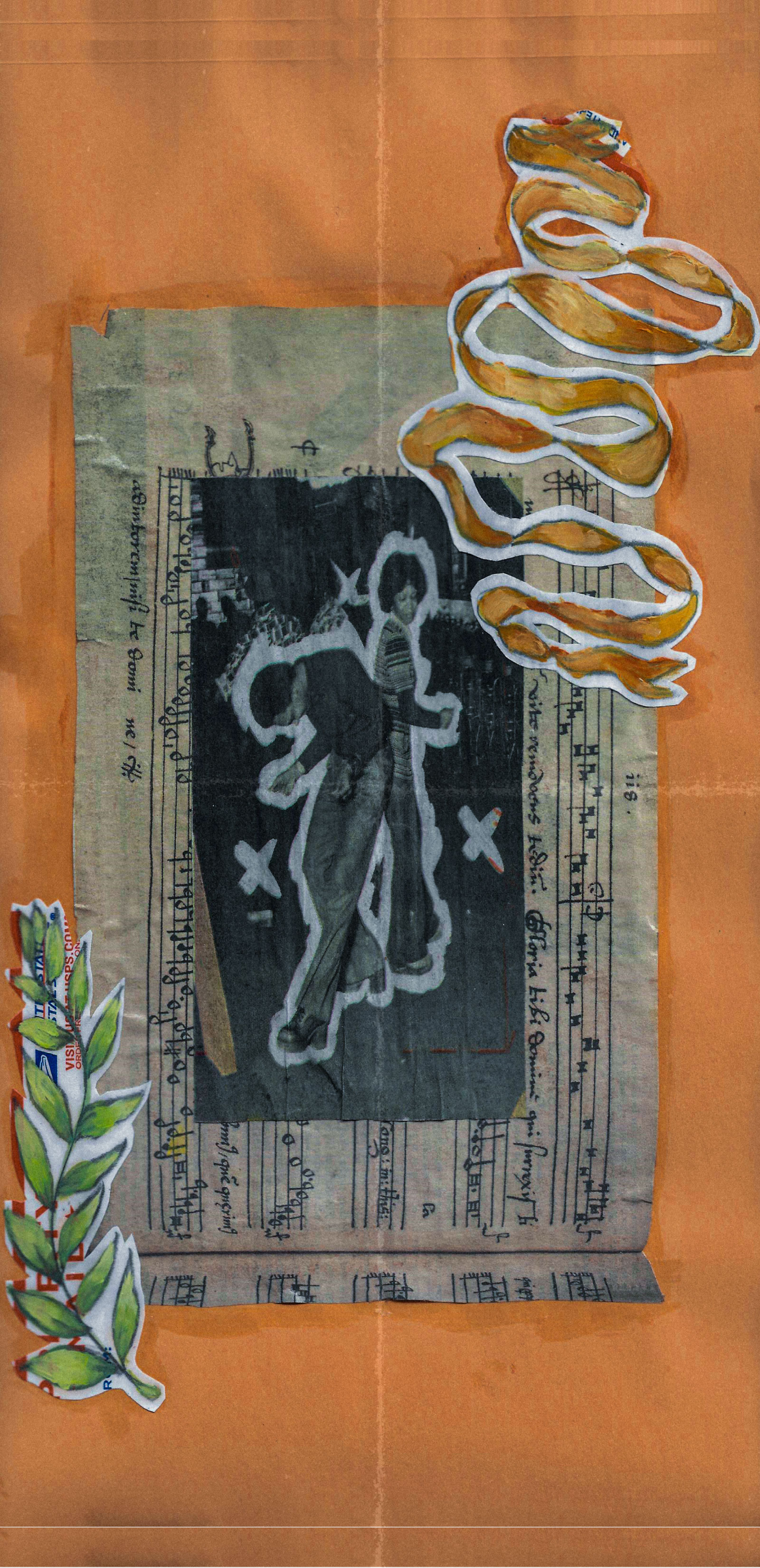 A collage on a manilla envelope. The central image is of a vintage image of Black couple dancing, both wearing 1970s-style bell bottoms. This is set on bars of sheet music and framed by two collaged elements - green leaves in the lower left and a ribbon in the upper right