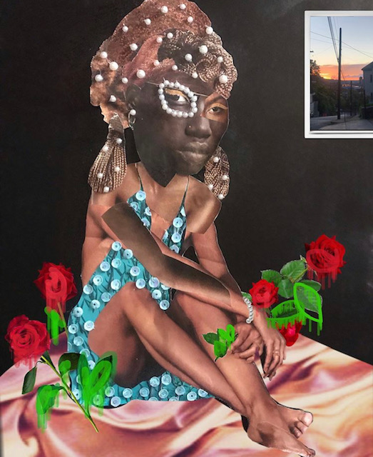 A collage image of a seated Black woman holding painted red flowers