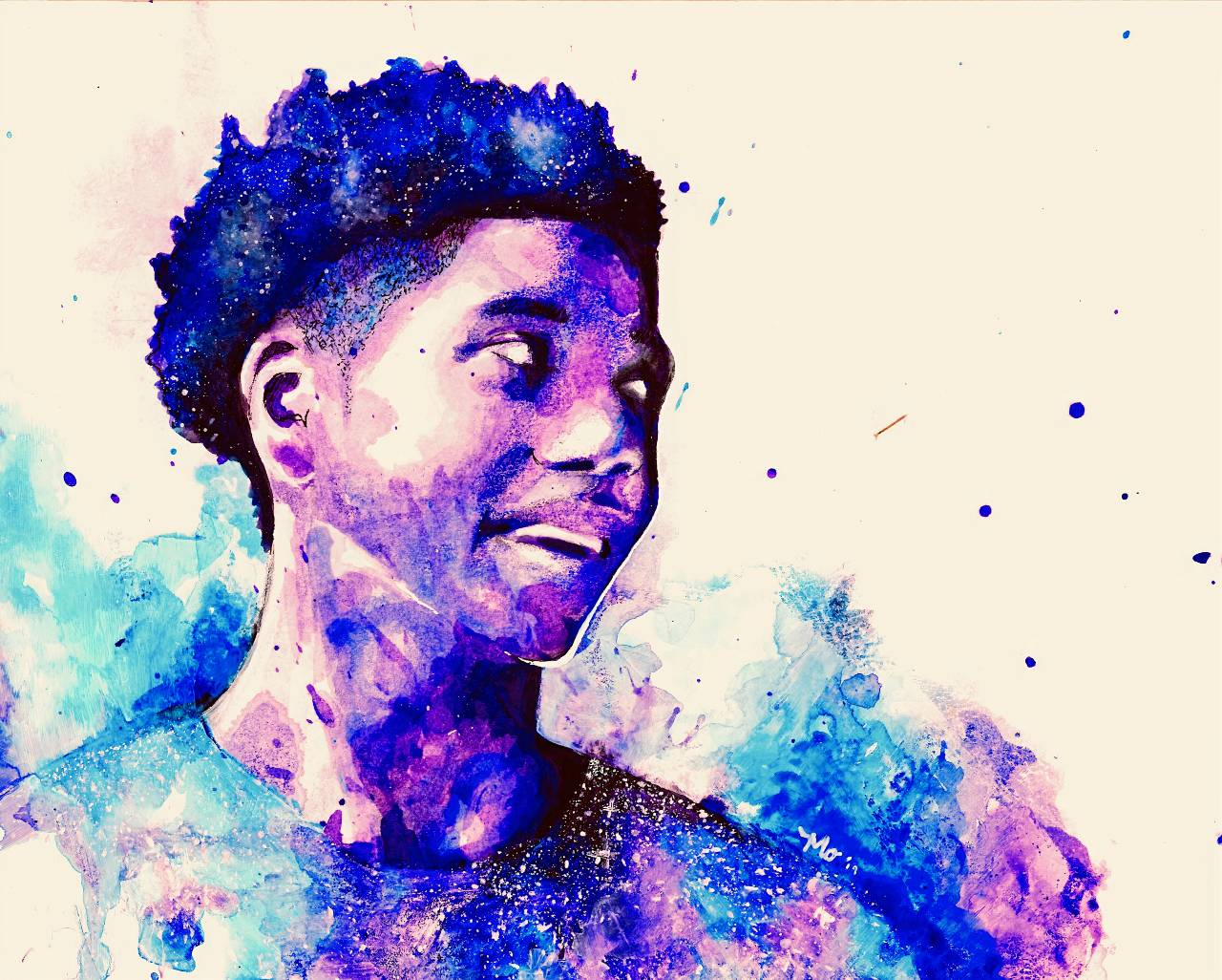 Watercolor portrait of Anwon Rose II, looking to the side and smiling slightly. The background is mostly white. The figure is rendered in cool colors of purples and blues