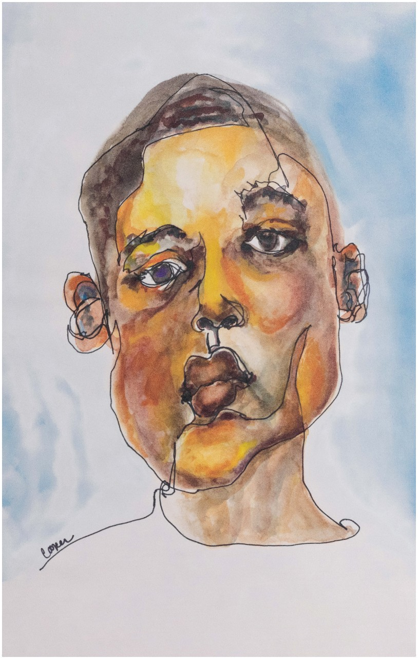 Watercolor portrait of the singer Keedron Bryant. The background is white with areas of light blue