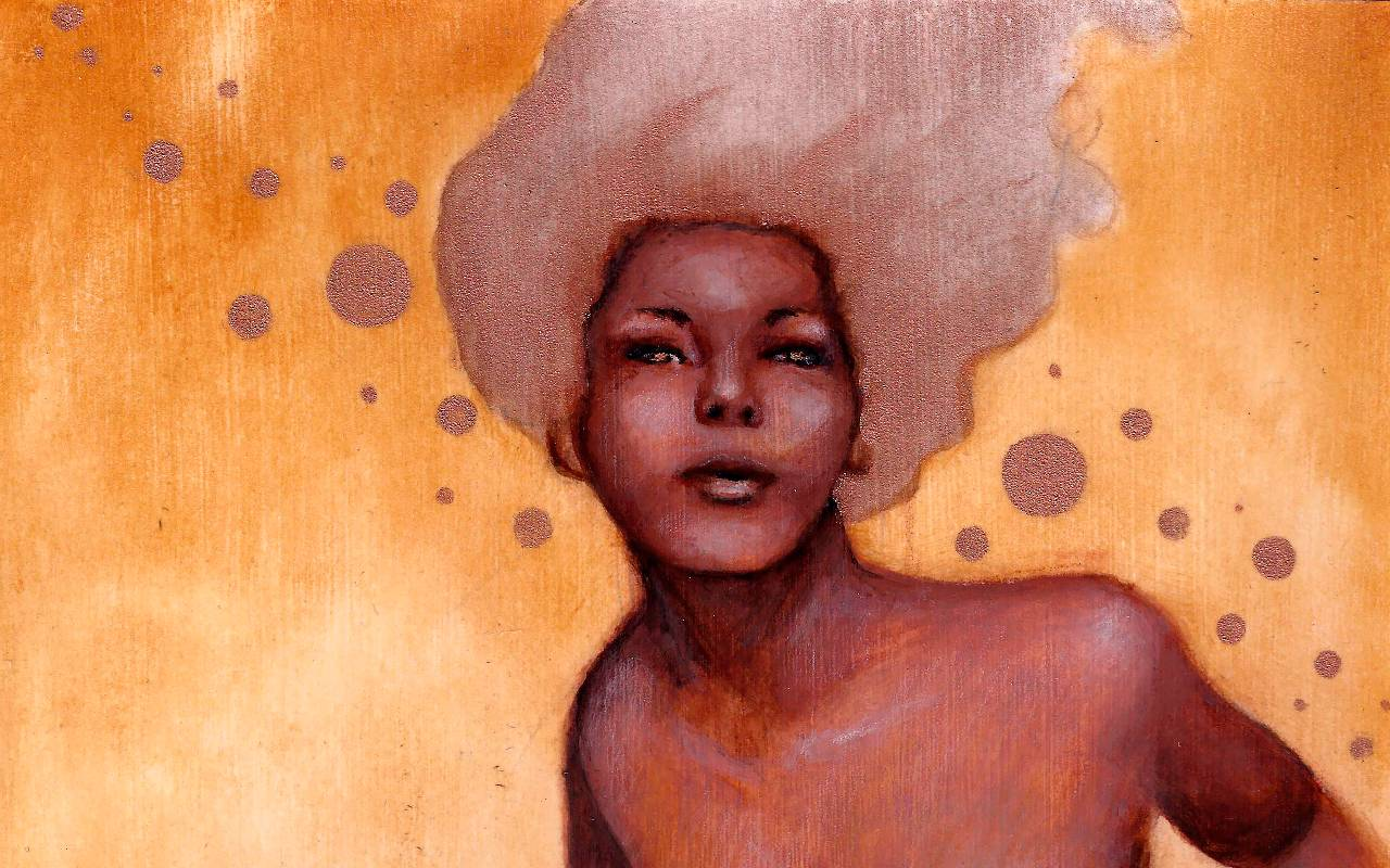 Painted portrait of a Black woman with her eyes open against a copper background, with circles of varying sizes throughout the composition