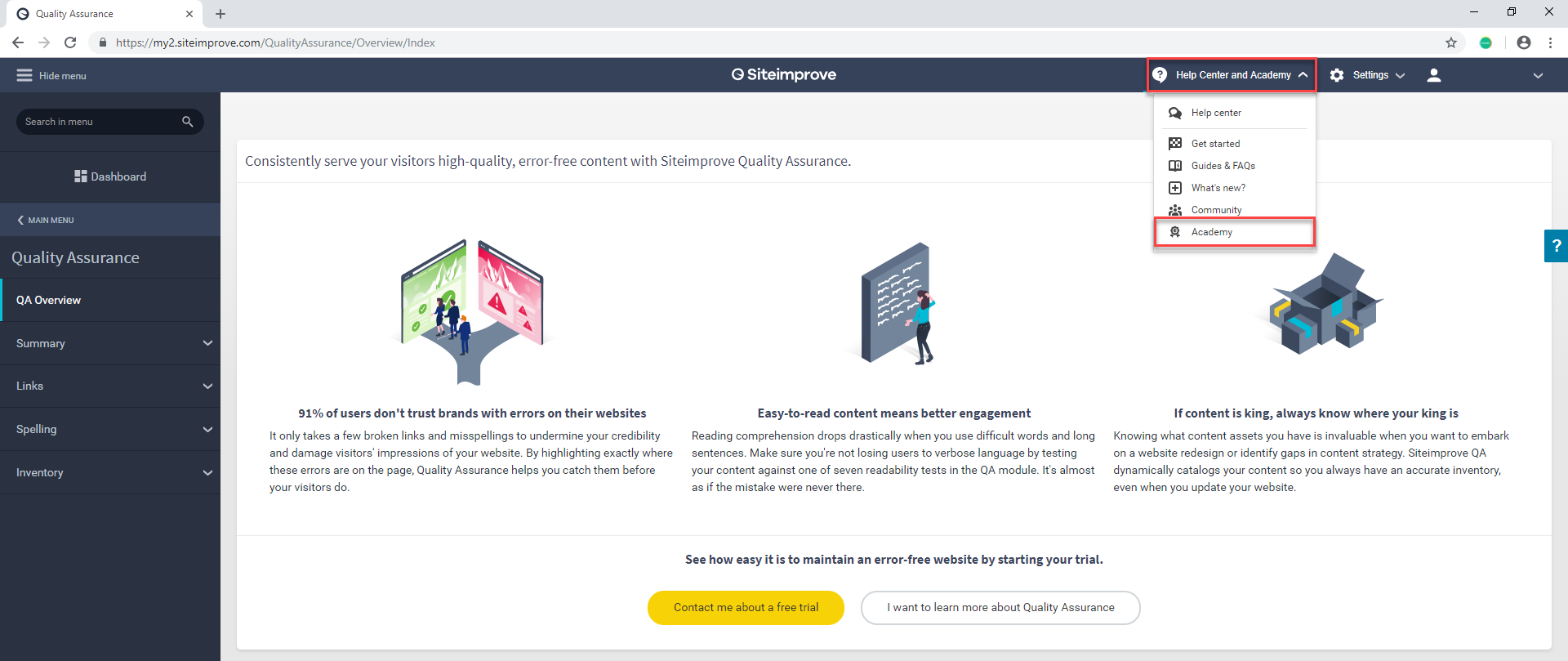 Screenshot of Siteimprove dashboard with Academy access