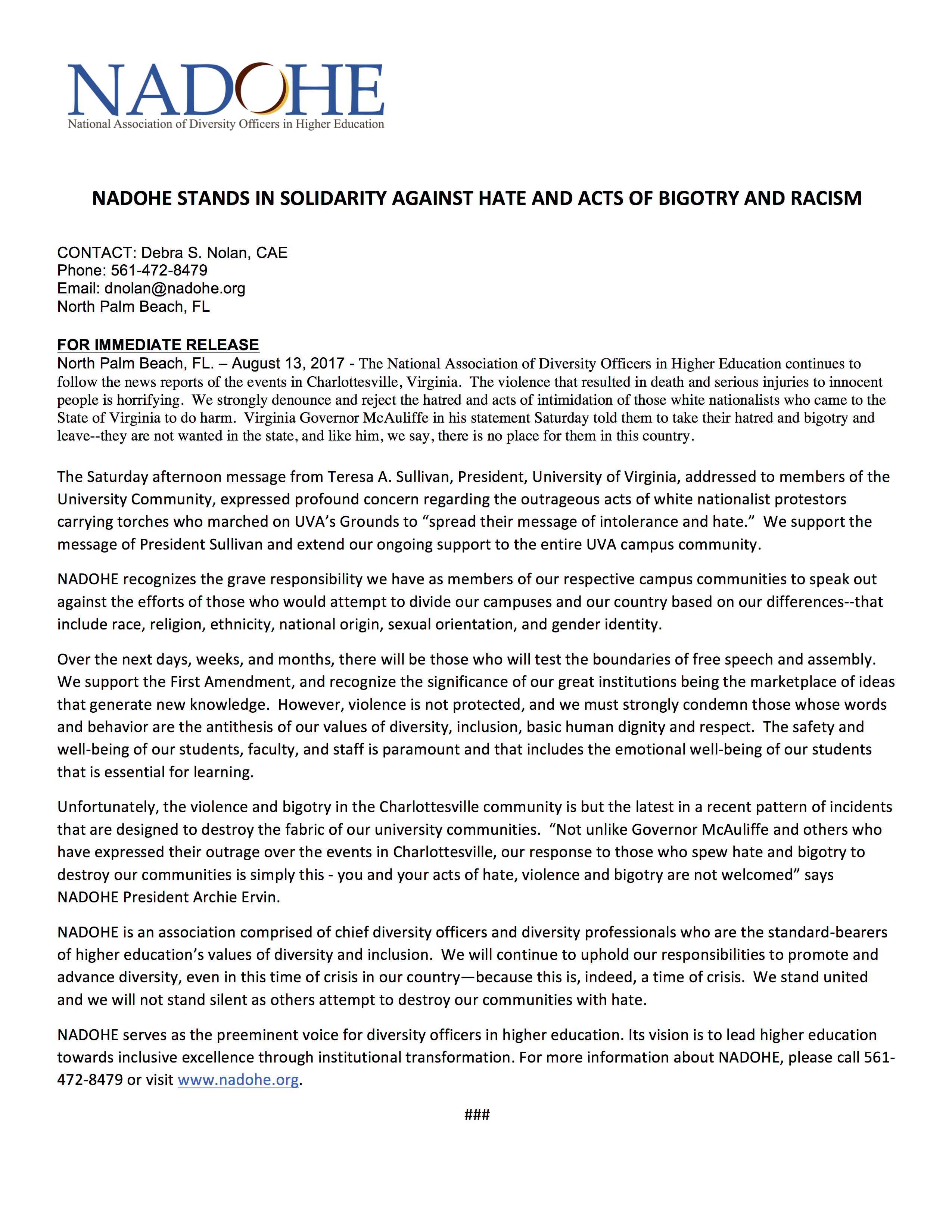 NADOHE statement against hate and acts of bigotry and racism