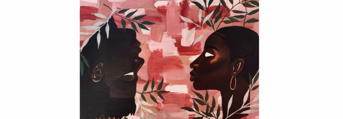 painting of two black faces looking at each other, with one upside down